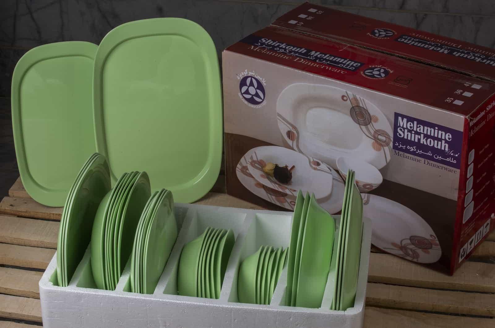 سرویس 6 نفره 35 پارچه چهارگوش رنگ سبز