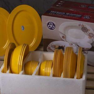 سرویس 6 نفره 35 پارچه گرد رنگ زرد