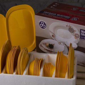 سرویس 6 نفره 35 پارچه چهارگوش رنگ زرد